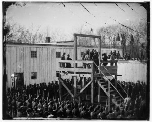 Washington, D.C. Adjusting the rope for the execution of Wirz (by Alexander Gardner; LOC: http://www.loc.gov/item/cwp2003001032/PP/)