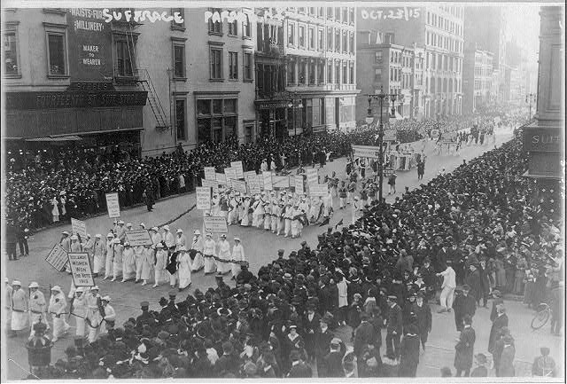 Pre-election parade for suffrage in NYC, Oct. 23, 1915, in which 20,000 women marched (1915; LOC: http://www.loc.gov/item/2001704302/)
