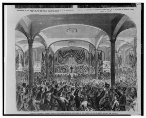 Ovation to Lieutenant General Grant at the Cooper Institute, New York, on the evening of June 7 - Grant saluting the audience ( Illus. in: Frank Leslie's illustrated newspaper, v. 20, no. 508 (1865 June 24), p. 209. ; LOC: http://www.loc.gov/item/2001695557/)