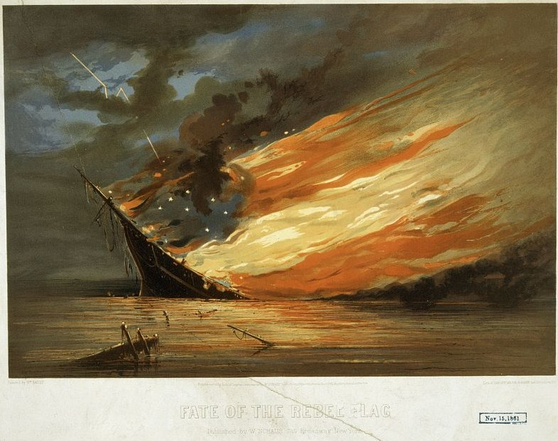Fate of the rebel flag / painted by Wm. Bauly ; lith. of Sarony, Major & Knapp, 449 Broadway, N.Y. (September 1861; LOC: http://www.loc.gov/item/2003689293/)