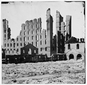 [Richmond, Va. Ruined buildings in the burned district] (1865; LOC: http://www.loc.gov/item/cwp2003000656/PP/)
