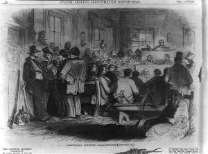 Constitutional Convention, Topeka, Kansas Territory [Topeka] ( Illus. in: Frank Leslie's illustrated newspaper, vol. 1, no, 1 (1855 Dec. 15), p. 16. ; LOC: http://www.loc.gov/item/99614006/)