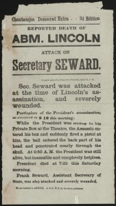 Reported death of Abm. Lincoln. Attack on Secretary Seward. (LOC: http://www.loc.gov/item/scsm000517/)