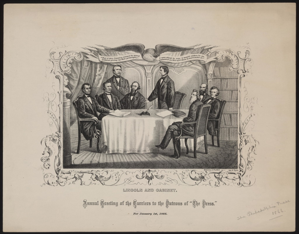 """Lincoln and cabinet. Annual greeting of the carriers to the patrons of """"The Press."""" For January 1st, 1866. (LOC: http://www.loc.gov/item/scsm000760/)"""