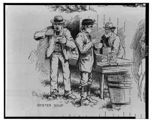 Oyster soup / drawn by H.M. Wilder ; sketch by B. McCord. ( Illus. in: Harper's weekly, v. 31, no. 1588 (1887 May 28), p. 389; LOC: http://www.loc.gov/item/2001695513/)