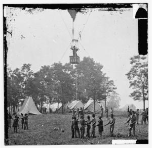 "Fair Oaks, Va. Prof. Thaddeus S. Lowe observing the battle from his balloon ""Intrepid"" (1862 May 31.; LOC: https://www.loc.gov/item/cwp2003000067/PP/)"
