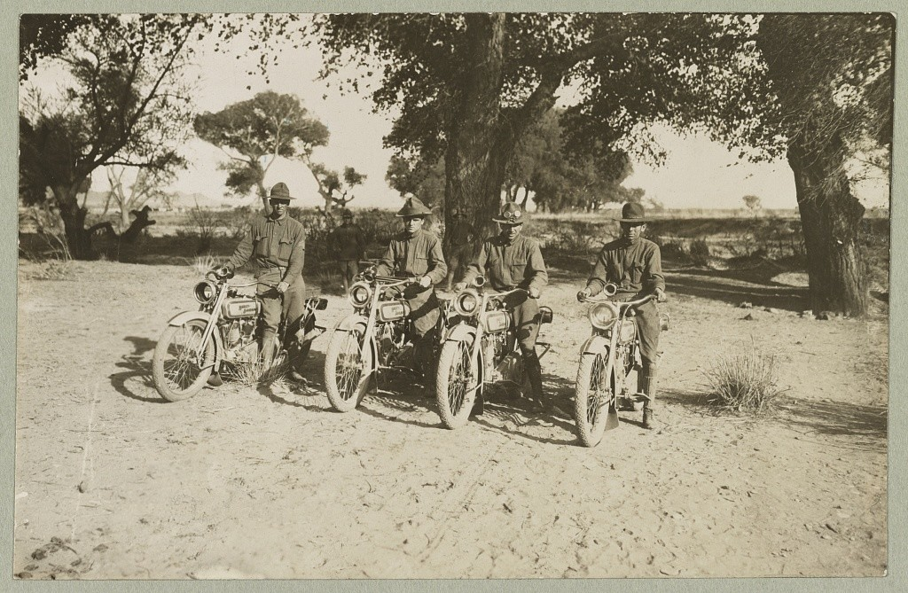 Motorcycle squad attached to brigade headquarters near Casa Grandes, Mexico Mexican-U.S. campaign after Villa, 1916. (c1916 May 6.; LOC: https://www.loc.gov/item/2013645867/)