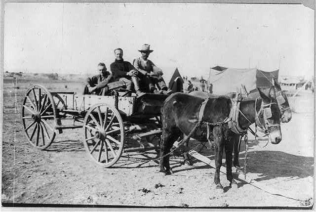 Capt. B.D. Foulois and Lieut. J.E. [or J.C.?] Carberry picked up by Mexican along road [in wagon] after their aeroplane had fallen 1500 feet - Mexican-U.S. Campaign after Villa, 1916 (c1916 April 27; LOC: https://www.loc.gov/item/2002699808/)