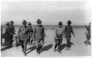 """""""U.S. Army Punitive Expedition after Villa, Mexico: General Pershing and General Bliss inspecting the camp, with Colonel Winn, Commander of the 24th Infantry"""" (Library of Congress)"""