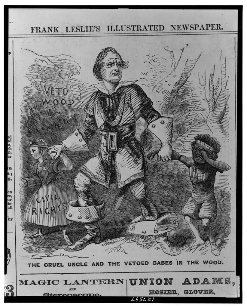 The cruel uncle and the vetoed babes in the wood ( Illus. in: Frank Leslie's illustrated newspaper, v. 22, no. 554 (1866 May 12), p. 128.; LOC: https://www.loc.gov/item/2001695524/)