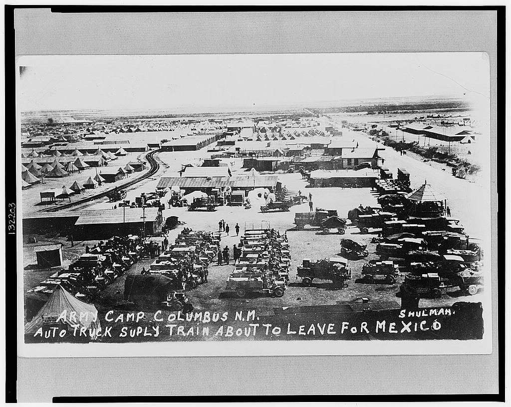 Army camp Columbus, N.M., auto truck supply train about to leave for Mexico / Shulman. (1916?; LOC: https://www.loc.gov/item/2002719615/)