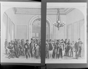 The lobby of the House of Representatives at Washington during the passage of the civil rights bill ( Illus. in: Harper's weekly, v. 10, no. 487 (1866 April 28), pp. 264-265. ; LOC: https://www.loc.gov/item/2010652197/)