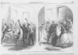 Outside of the galleries of the House of Representatives during the passage of the civil rights bill ( Illus. in: Harper's weekly, v. 10, no. 487 (1866 April 28), p. 269. ; LOC: https://www.loc.gov/item/2010652199/#))