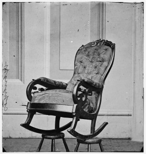 Washington, D.C. Rocking chair used by President Lincoln in Ford's Theater (1865 April; LOC: https://www.loc.gov/item/cwp2003000996/PP/)