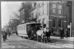 A horsedrawn streetcar. Rapid transit. Covington Ga. (between ca. 1888 and ca. 1917; LOC: https://www.loc.gov/item/2012646773/)