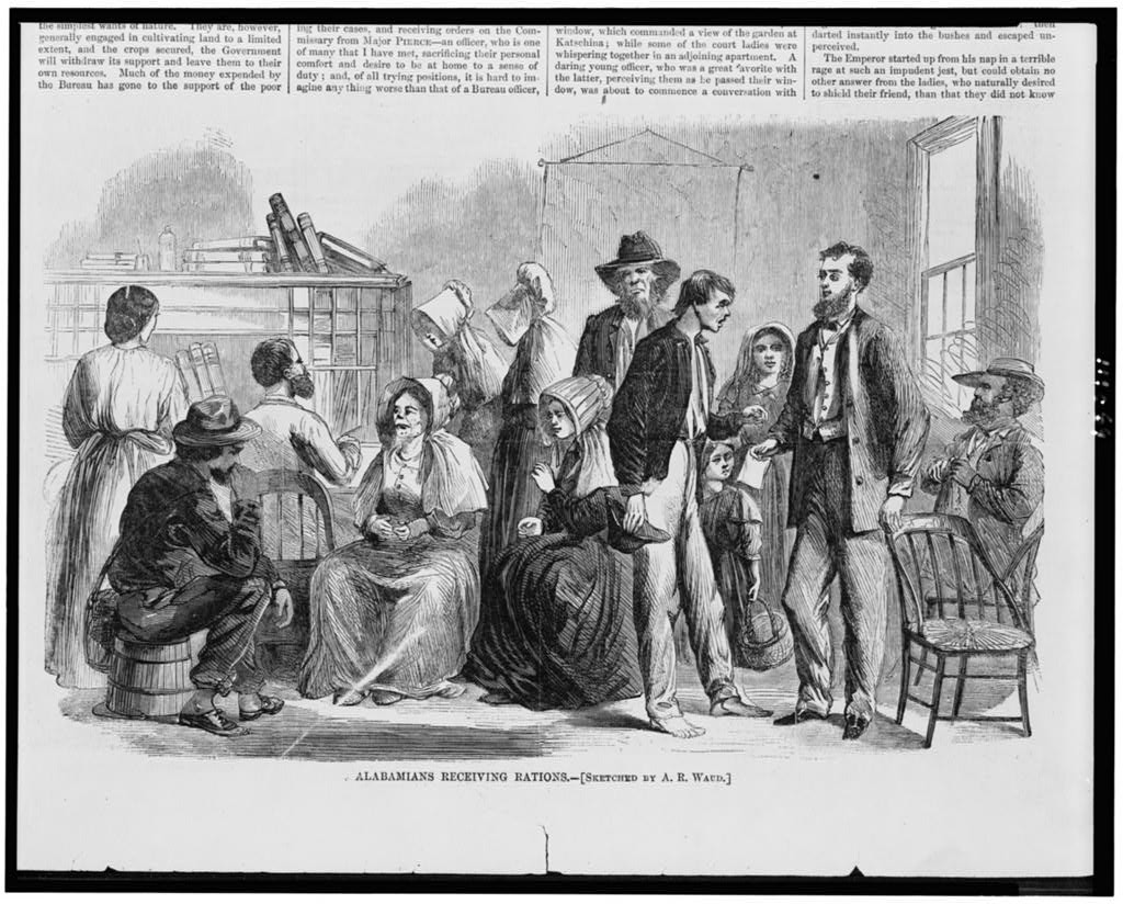 Alabamians receiving rations / sketched by A.R. Waud. ( Illus. in: Harper's weekly, 1866 Aug. 11, p. 509; LOC: https://www.loc.gov/item/94510083/)