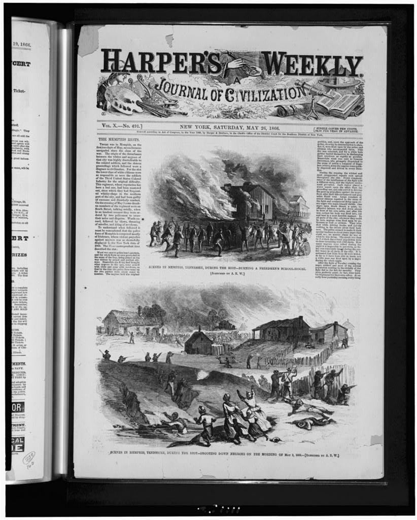 Scenes in Memphis, Tennessee, during the riot (Harper's weekly, 1866 May 26, p. 321. )