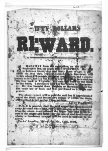 Poster offering fifty dollars reward for the capture of a runaway slave Stephen. (1852; LOC: https://www.loc.gov/item/rbpe.00101200/)