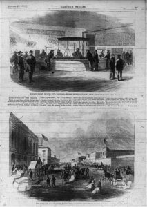 [2 views] (1) Banking-House, Denver City, Colorado - miners bringing in gold dust [interior]; (2) The Overland Coach Office, Denver City, Colorado [street scene] (Harper's Weekly, January 27, 1866 p.27; LOC: https://www.loc.gov/item/2006675494/)