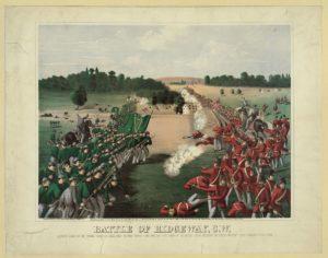 Battle of Ridgeway, C.W. (Buffalo, N.Y. : The Sage, Sons & Co. Lith., Print'g & Manufac'g Co., c1869.(LOC: https://www.loc.gov/item/2006677453/)