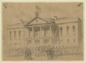 Lt Col Kennedy of the 13th Iowa, 3rd Brigade, 4th Division, 17 A.C. raising the stars & stripes over the State House Columbia ( Published in: Harper's Weekly, April 8, 1865, p. 209, credited to Theodore Davis.; LOC: https://www.loc.gov/item/2004661347/)
