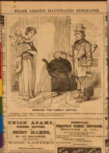 Mending the family kettle (Illus. in: Frank Leslie's illustrated newspaper, v. 22, no. 559 (1866 June 16), p. 208.)