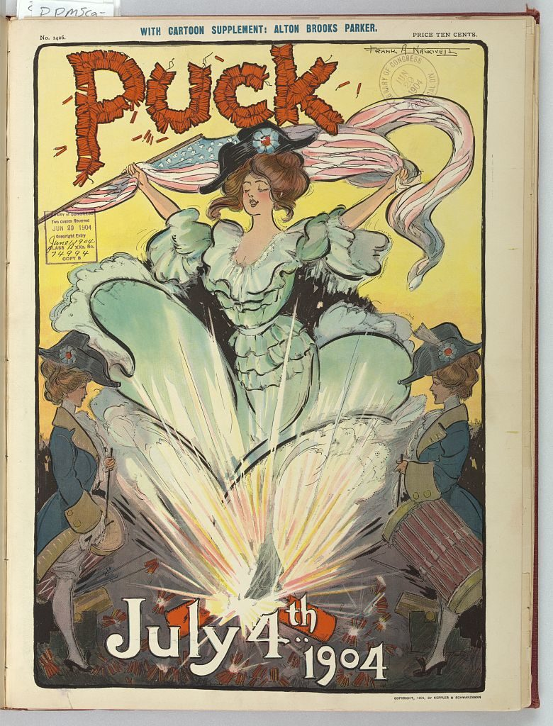 Puck July 4th 1904 / Frank A. Nankivell. ( Illus. in: Puck, v. 55, no. 1426 (1904 June 29), 4th of July cover; LOC: https://www.loc.gov/item/2011645544/)