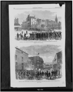 The Riot in New Orleans - the Freedmen's procession marching to the institute - the struggle for the flag The riot in New Orleans - siege and assault of the convention by the police and citizens / / sketched by Theodore R. Davis. ( 2 Illustrations in: Harper's weekly, 1866 Aug. 25, p. 536; LOC: https://www.loc.gov/item/94510091/) )
