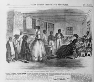 The Misses Cooke's school room, Freedman's Bureau, Richmond, Va. / from a sketch by Jas. E. Taylor. (llus. in: Frank Leslie's illustrated newspaper, v.23, 1866 Nov. 17, p. 132.)