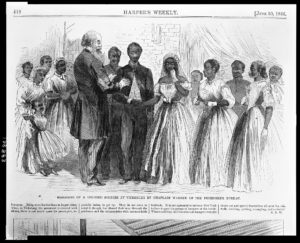 Marriage of a colored soldier at Vicksburg by Chaplain Warren of the Freedmen's Bureau ( Illus. in: Harper's weekly, v. 10, no. 496 (1866 June 30), p. 412 (top).; LOC: https://www.loc.gov/item/2009630217/)