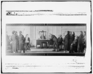 Franklin signing the Declaration of Independence (between 1900 and 1920; LOC: https://www.loc.gov/item/det1994023271/PP/)