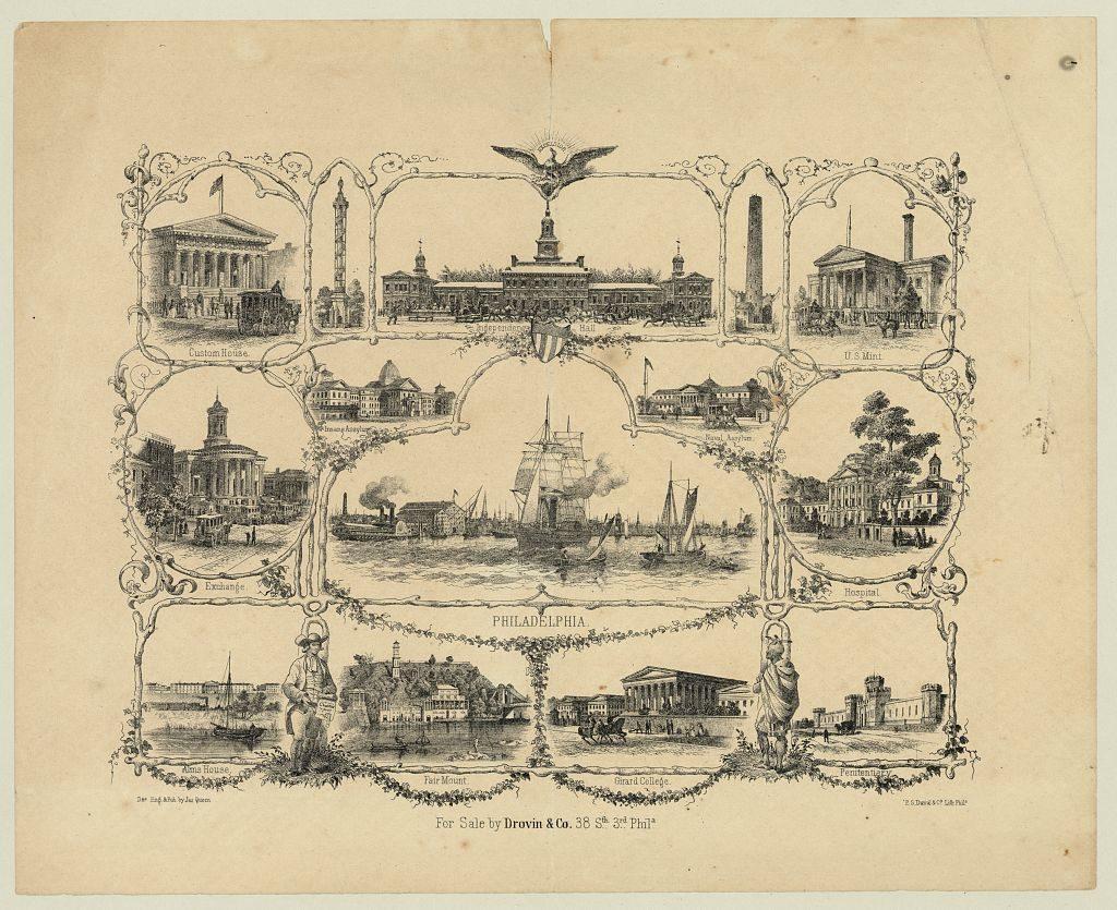 Philadelphia / des. eng. & pub. by Jas. Queen ; P.S. Duval & Co. Lith. Phila. (ca. 1855; LOC: https://www.loc.gov/item/2010651254/)