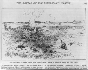 The Battle of the Petersburg Crater: The Crater, as seen from the Union side. From a sketch made at the time (ca. 1887; LOC: https://www.loc.gov/item/2003669688/)