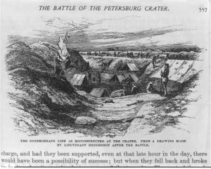 The Battle of the Petersburg Crater: The Confederate line as reconstructed at the crater. From a drawing made by Lieutenant Henderson after the battle (ca. 1887; LOC: https://www.loc.gov/item/2003669689/)