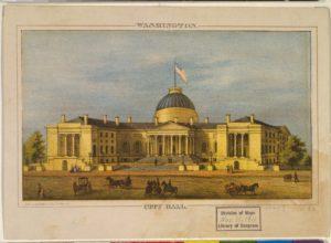 City Hall - Washington / lith. by E. Sachse & Co., Baltimore. (ca. 1866; LOC: https://www.loc.gov/item/00650403/)