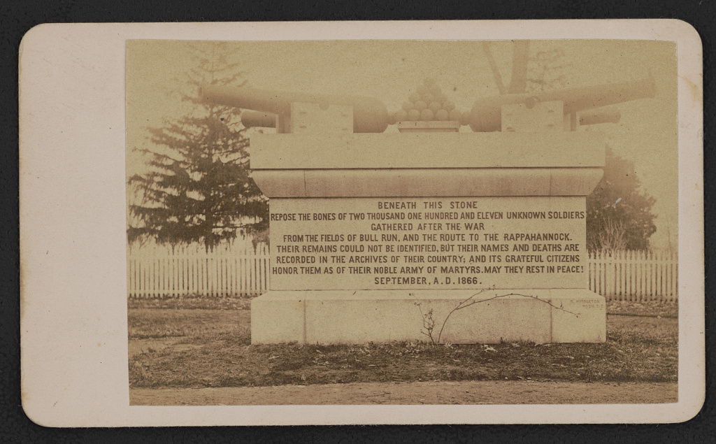 Civil War Unknowns monument, designed by Montgomery Meigs and dedicated in 1866, at Arlington Cemetery (1866?; LOC: https://www.loc.gov/item/2015650835/)