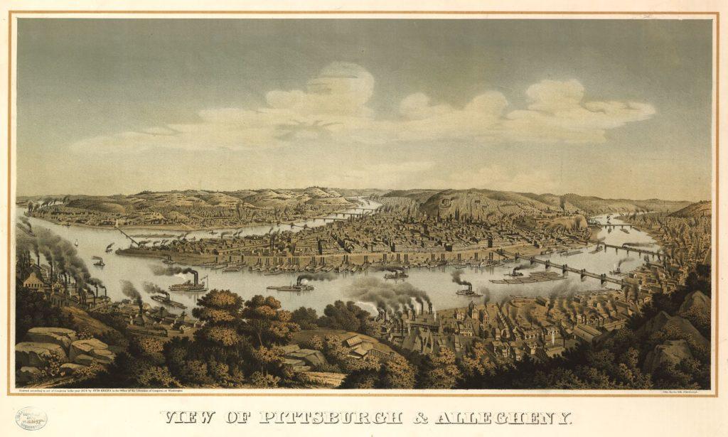 View of Pittsburgh & Allegheny / Otto Krebs lith., Pittsburgh. (c1874; LOC: https://www.loc.gov/item/94513615/)