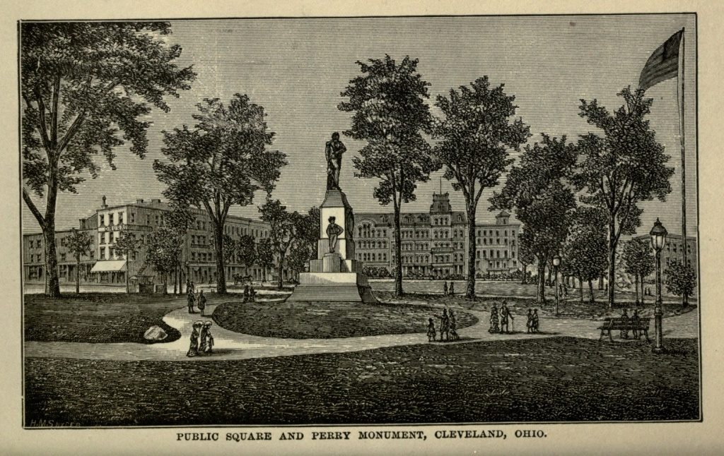 PUBLIC SQUARE AND PERRY MONUMENT, CLEVELAND, OHIO. (1886; Project Gutenberg: http://www.gutenberg.org/files/35575/35575-h/35575-h.htm#Page_150)