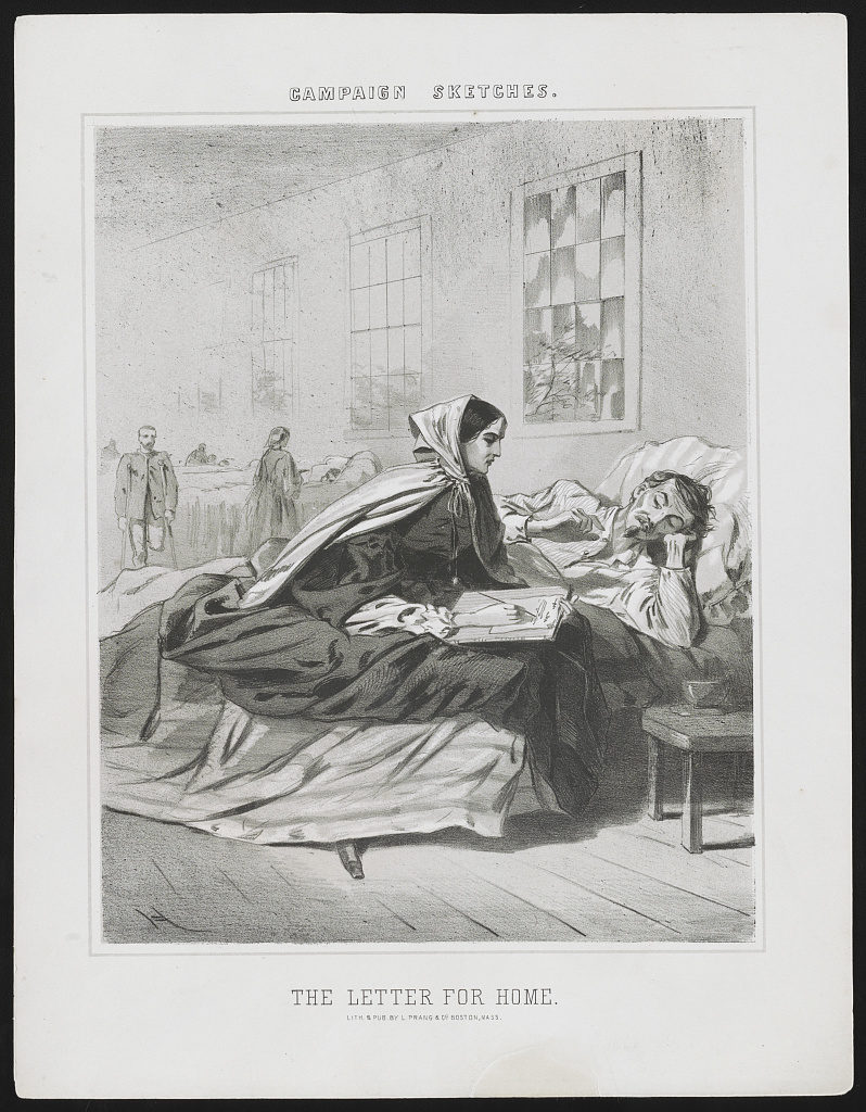 Campaign sketches. The letter for home / H. (by Winslow Homer, Boston, Mass. : Lith. & pub. by L. Prang & Co., [1863]; LOC: https://www.loc.gov/item/2013650300/)