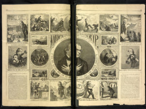 "Andy's trip ""Who has suffered more for you and for this Union than Andrew Johnson?"" / / Th. Nast. ( Illus. in: Harper's weekly, v. X, no. 513 (1866 October 27), pp. 680-681; LOC: https://www.loc.gov/item/2016651601/)"