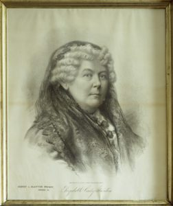 Drawing of Elizabeth Cady Stanton, art located at the Frederick Douglass home in Washington, D.C. (by Carol M. Highsmith; LOC: https://www.loc.gov/item/2011634954/)