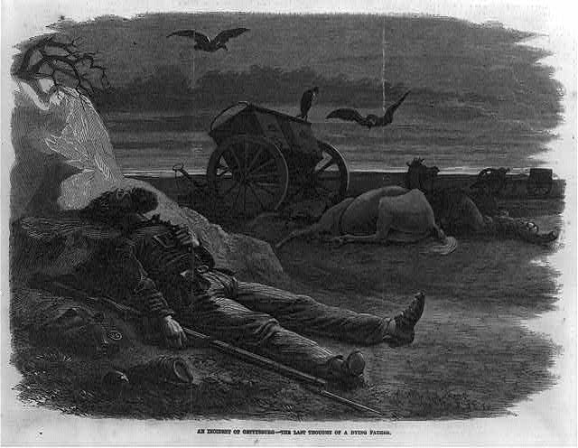 An incident of Gettysburg - the last thought of a dying father ( Illus. in: Frank Leslie's Illustrated Newspaper, (1864 Jan. 2), p. 236. ; LOC: https://www.loc.gov/item/2002709419/)