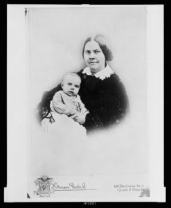 Lucy Stone with daughter Alice Stone Blackwell, half-length studio portrait, sitting, facing front (ca. 1858; LOC: https://www.loc.gov/item/2005677274/)