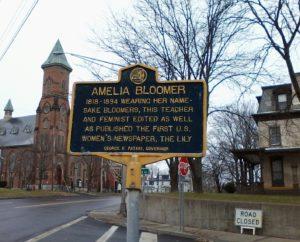 Bloomer NY State Historical marker (12-11-2016; Cayuga Street (Routes 5&20), Seneca Falls, NY(