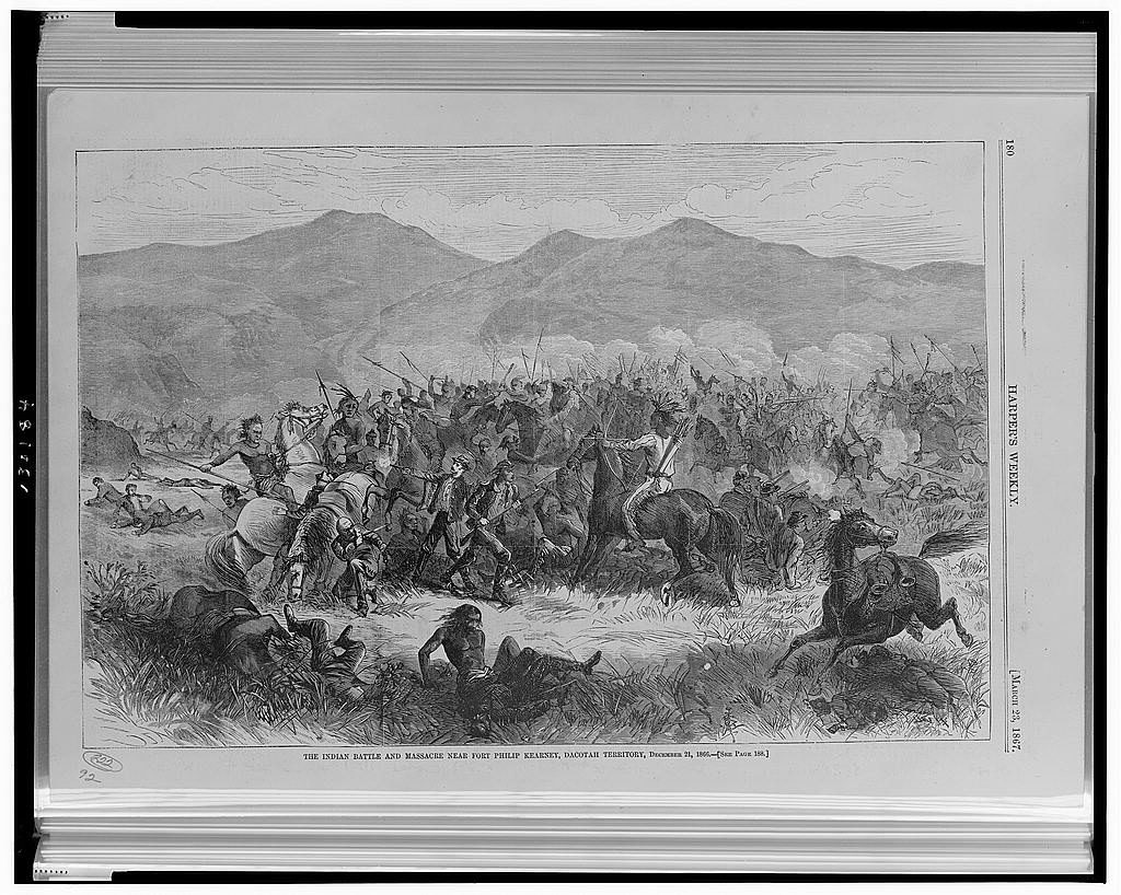 The Indian battle and massacre near Fort Philip Kearney, Dacotah [sic] Territory, December 21, 1866 ( Illus. in: Harper's weekly, v. 11, no. 534 (1867 March 23), p. 180; LOC: https://www.loc.gov/item/2001700334/)