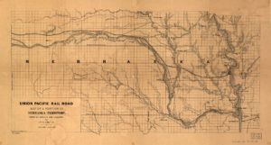 Union Pacific Rail Road, map of a portion of Nebraska Territory, showing surveys and location of lines by Peter A. Dey, C.E. (n.p., 1865?; LOC:  https://www.loc.gov/item/98688831/)