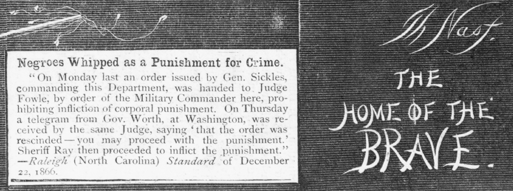 whipping Slavery is dead(?) / Th Nast. ( Illus. in: Harper's weekly, 1867 Jan. 12, p. 24. ; LOC: https://www.loc.gov/item/93507943/)