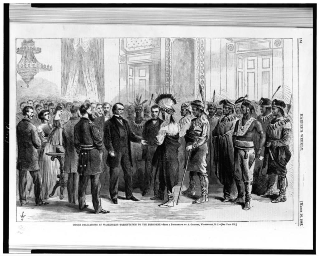 Indian delegations at Washington--presentation to the president / From a photograph by A. Gardner, Washington, D.C. ( Illus. in: Harper's weekly, 1867 March 16, p. 164. ; LOC: https://www.loc.gov/item/93500617/)