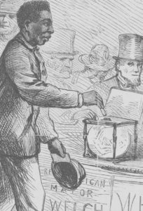 The Georgetown elections - the Negro at the ballot-box / Th. Nast. (- Illus. in: Harper's weekly, v. 11, no. 533 (1867 March 16), p. 172; LOC: https://www.loc.gov/item/2010652200/)