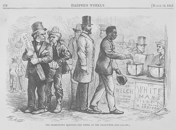 The Georgetown elections - the Negro at the ballot-box / Th. Nast. ( Illus. in: Harper's weekly, v. 11, no. 533 (1867 March 16), p. 172; LOC: https://www.loc.gov/item/2010652200/)
